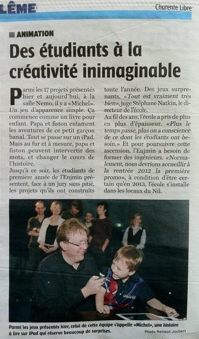ENJMIN Charente Libre article Léon